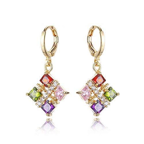 DLL Mode Temperament Ohrring Champagner Farbe Diamant Ohrringe Ohrring Persönlichkeit Zauberwürfel Frau 1 Ohrring Schmuck Zubehör Würfel DLL/A/Einheitsgröße