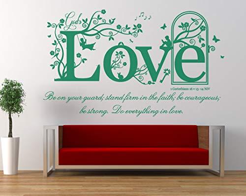 1 Corinthians 16 v 13-14, NIV Christian Bible Verse Quote. Vinyl Wall Art Sticker, Mural, Decal. Home, Church, School Decor. Dimensions of sticker: 47 1/4' wide x 31 1/2' high