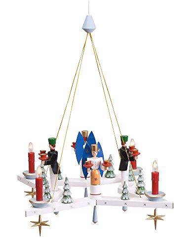 Rudolphs Schatzkiste Lichterkranz Adventskranz Stern mit Engel und Bergmann elektrisch BxT = 50x50cm NEU Leuchter Hängeleuchter Advent Kerzen Dekoration Seiffen Erzgebirge Holz Weihnachten