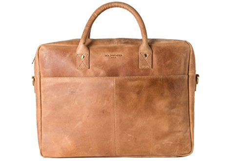 HOLZRICHTER Berlin - Briefcase (M) Premium Aktentasche aus Leder - Handgefertigte Große Laptoptasche - Ledertasche für Herren & Damen - Camel-braun