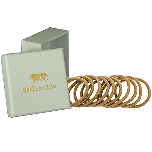 HAARallerliebst Haargummis dick (10 Stück | beige | 5cm) für blonde Haare inkl. Schachtel zur Aufbewahrung (Schachtelfarbe: weiss)