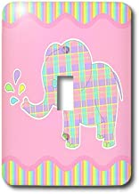 3dRose lsp_39753_1 Cute Plaid Elephant On Pink and Rainbow Stripe Background Single Toggle Switch