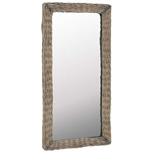 vidaXL Spiegel 50x100cm Riet Bruin Spiegels Wandspiegels Badkamerspiegels