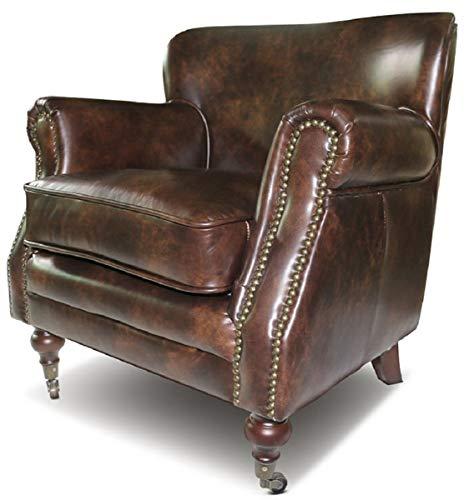 Casa Padrino Echtleder Sessel Braun 69 x 70 x H. 75 cm - Eleganter Wohnzimmer Leder Sessel - Wohnzimmer Möbel - Echtleder Möbel