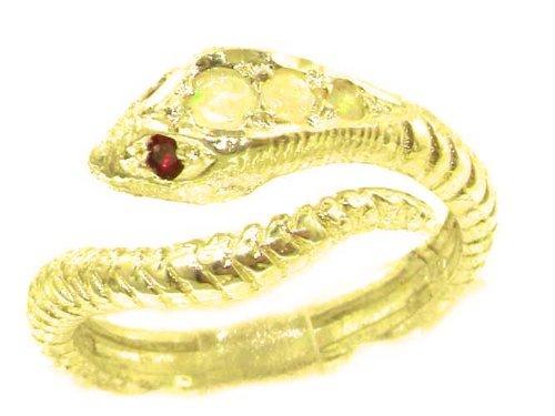 Herrlicher Schlangenring solide 9 Karat Gold Gelbgold Opal & Rubin - Verfügbare Größen : 50 bis 64