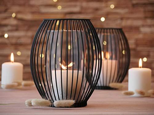 Azra Home Zeitloser Kerzenständer mit Glas 2er Set, 17x19,5cm und 14,5x17cm, Kerzenhalter, Kreativ Vintage Deko, Metall Deko Kerzenleuchter, Windlicht Glas, Wohnzimmer Deko, Weihnachten Deko Schwarz