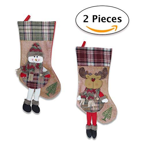 Jonami 2 Calze Befana Vuota Grande/Calza di Natale da Riempire con Decorazione 3D Fatta A Mano....