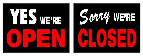 Hillman 840046 Yes We're Open Sorry We're Closed 2 Sided Reversible Sign, Black, Red and White Plastic, 15x19 Inches 1-Sign