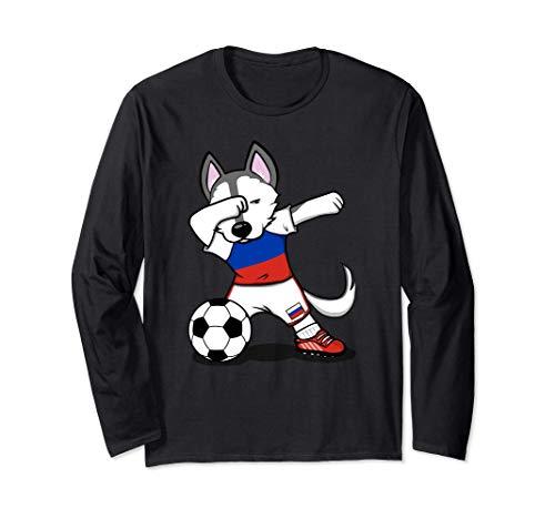 Funny Dabbing Husky Dog かわいいハスキー犬ロシアサッカーロシア国旗スポーツ 長袖Tシャツ