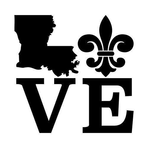 Louisiana Love Fleur De Lis Vinyl Decal Sticker | Cars Trucks Vans SUVs Windows Walls Cups Laptops | Black | 5.5 Inch | KCD2363