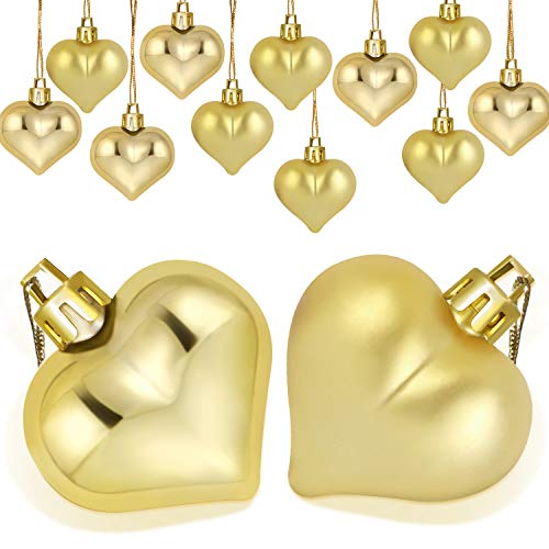 Boao 24 Pieces Heart Shaped Ornaments Valentines Day Heart Ornament for Valentines Day Decoration, 2 Styles (Gold)