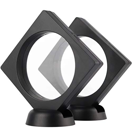 RECHIATO 3D Floating Display Case Display Stands Holder Suspension Frame for Championship Ring,Challenge Coin,AA Medallion,Jewelry,Pin,3.5x3.5x0.8 Inches(Without Rings),Black,2PCS