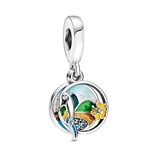 LISHOU DIY 925 Plata Esterlina Verano Color Real Brasil Playa Loro Dangle Fit Original Pandora Pulseras Collar para Mujeres Cuentas De Dijes Fabricación De Joyas