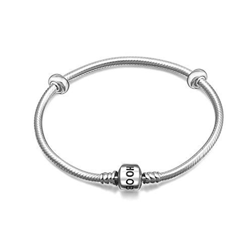 Hoobeads 925argento Sterling serpente braccialetto a catena con 2stopper Beads charms e Base, cod. 43213-62753