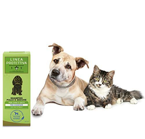 101 love for pet, Shampoo Naturale e Vegetale - Repellente Contro Pulci, Zecche e Acari - con Olio di Neem, estratti di Garofano e di Geranio - per Cani e Gatti, 250 ml