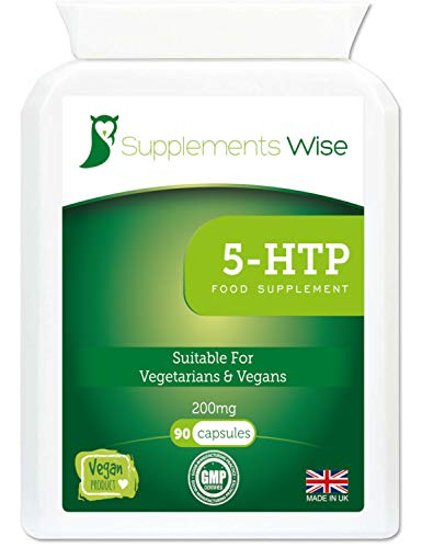 5htp 200mg - 90 Capsules - Supplement for Stress and Anxiety Relief - Natural Sleep Aid - Supports Efficient Serotonin Production - Powerful Extract from Griffonia Seed