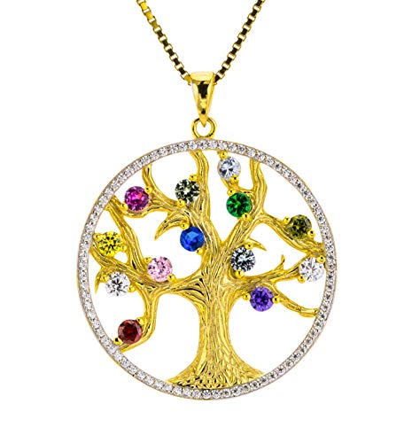 Tree of Life Mothers necklace with birthstones 1-13 St.1mm...