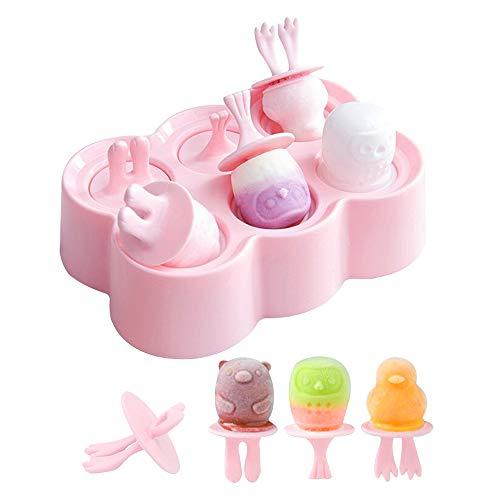 BaiJ Eisform für Kinder,Mini Eisformen EIS am Stiel Lutscher und Eiscreme Form Silikon Ice Pop Formen mit 6-Loch Lutscherformen Wassereis Stieleis Rosa