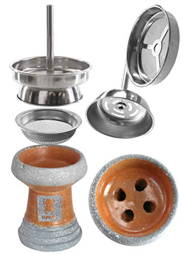 Kaya Set de cachimba Shisha cazoleta de Piedra y gestor de Calor, esmaltado Parcial (Natural)