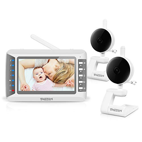 """TMEZON Video Baby Monitor with Two Cameras and 4.3"""" LCD,Auto Night Vision,Two-Way Talkback,Temperature Detection,Power Saving/Vox,Zoom in,Support Multi Camera Feeding Time Alarm Monitors"""