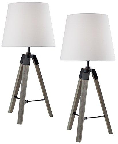 2er Set BRUBAKER Dreibein Tisch- oder Nachttischlampen 57 cm Holz Silbergrau/Weiß - Designed in Germany