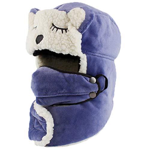 WSGYX Chapeau Enfants Chapeau Automne et Hiver Mode féminine Mignon Coton Chapeau bébé épais Chaud Chaud Coupe-Vent Casquette Ski Chapeau Cadeau Chapeau d'hiver (Color : Blue, Size : 52CM)