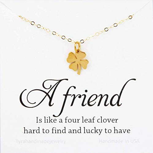 Four leaf clover necklace,shamrock necklace,lucky charm shamrock necklace,Best friend gift,St Patricks Day gift,personalized message card,birthday gift