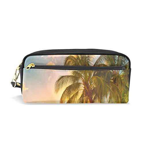 Pen Case Stationary Sea Sunset The Beach Palms Pencil Sacs Pochette Portable pour Enfants Scolaires Sac Cosmétique Maquillage Beauté