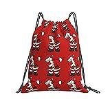 QUEMIN Mochila con cordón Mochila Santa Claus Rojo Gimnasio Mochila para Senderismo Equipo de Entrenamiento de natación Yoga Gimnasio al Aire Libre Ejercicio