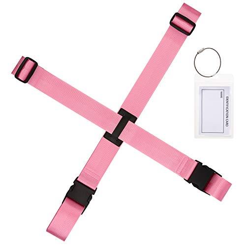 Gonex Luggage Straps, Adjustable Suitcase Belts Travel Accessories Bag Straps with ID Card Holder (Pink 1 Set)