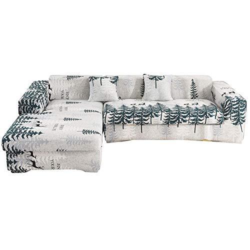 Bedrukte hoes voor stretchbank All-inclusive netto rood bed Li-type hoes voor bankhoes Combinatie L-vormige antislip bankhoes-7_1 zits 90-140cm