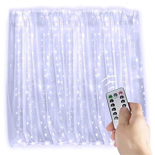 Rideau Lumineux,KINGCOO 3Mx3M 300 LED 8 Mode USB Fil de Cuivre Fenêtre Lumières Guirlande Lumineuses Télécommande pour Décorative Ambiance Noël Mariage Anniversaire Fête Bar Intérieur (Blanc)