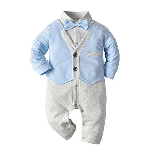 JEATHA Baby Jungen Jumpsuit Baumwolle Langarmbody Strampler Overall mit Fliege Neugeborene Gentleman Smoking Bodysuit für Hochzeit Fotografie Babybekleidung Blau B 50-56