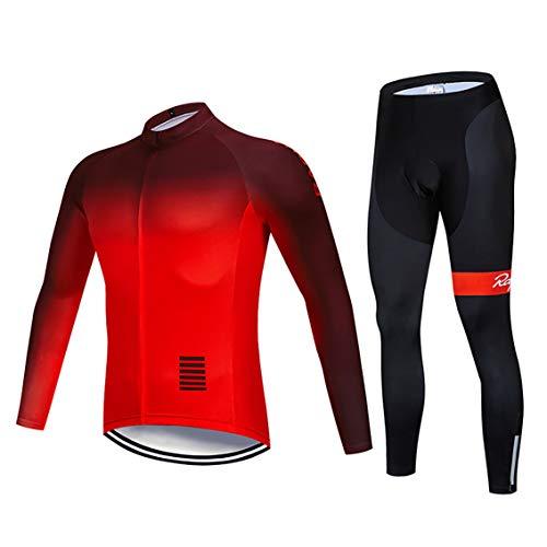 Moxilyn Abbigliamento Ciclismo da Uomo,Maglia Manica Lunga+Pantaloni Lunghi,Cuscino Gel 9D,Moda Set Completo,Abbigliamento Sportivo per Bicicletta,Ciclismo Ciclismo Jerseys per Uomo