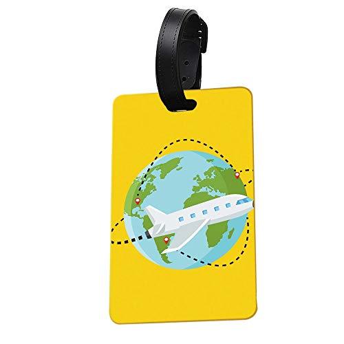 Dasket Etiqueta del Equipaje, Buen Rendimiento hermético Goma Suave Inodoro Etiqueta de Equipaje Resistencia al Calor antiestático Toque Suave Tarjetero Reconocimiento Directo-Yellow,World Travel