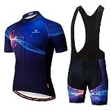 Uriah Men's Cycling Jersey Bib Shorts Sets Short Sleeve Reflective Black Tech Size XL(CN)