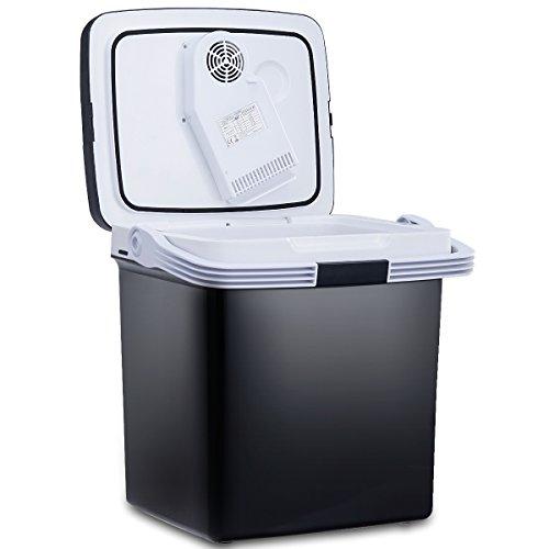GOPLUS Elektronischer Kühlschrank, mit Warm- und Kaltfunktion, Tragbare 12V & 220-240V Kühlbox für Auto & Privathaushalte, 26L Mini-Kühlschrank mit ECO-Modus (Schwarz)