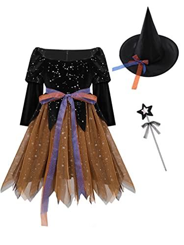 iiniim Disfraz Bruja Vampiresa Payaso Nia Costume Vestido Princesa con Lazada Tut Ropa de Fiesta Tul Carnaval Halloween Cosplay Party Actuacin 2-12 Aos Negro&Naranja 3-4 aos