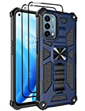 Lmposla for OnePlus Nord N200 5G Case with 2PCS Tempered Glass Screen Protector,Heavy Duty Protection Shockproof Armor Built-in Kickstand Car Magnetic Case Cover for OnePlus Nord N200 5G (Navy)