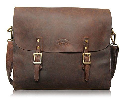 Klondike 1896 Cartella portadocumenti Brett  in vera pelle, borsa a tracolla vintage di alta qualità, marrone