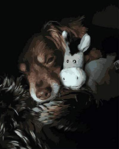 N / A DIY Digital Malereikit Hundespielzeug DIY Malen Nach Zahlen Für Erwachsene Und Kinder Vorgedruckt Leinwand-Ölgemälde Kits 16 X 20 Inch.