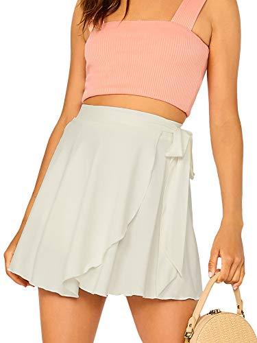 SheIn Women's Casual Elastic Waist Self Belted Overlap Skater Flared Wrap Short Skirt White