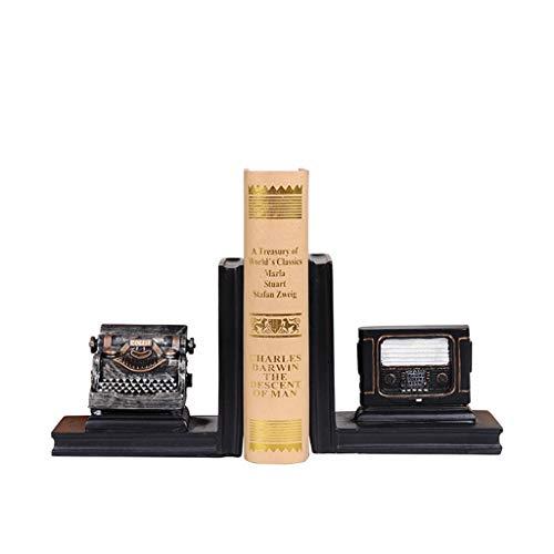 LICHUAN Sujetalibros de radio vintage para máquina de escribir, resistentes, soportes decorativos para libros para estantes, tapones de resina para libros para casa, oficina, soporte de libros