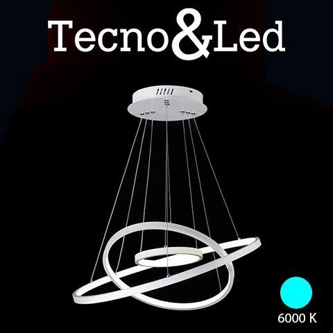 Tecno&Led - Lampadario a sospensione LED moderno 3 anelli di design a luce fredda