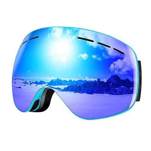 FODSPORTS スノボート ゴーグル スキーゴーグル 曇り止 UVカット 球面ダブルレンズ 広視野 メガネ装着対応 フレームレス 磁気式迅速交換レンズ 簡単脱着 防風/防雪/防塵/通気 ケース付き