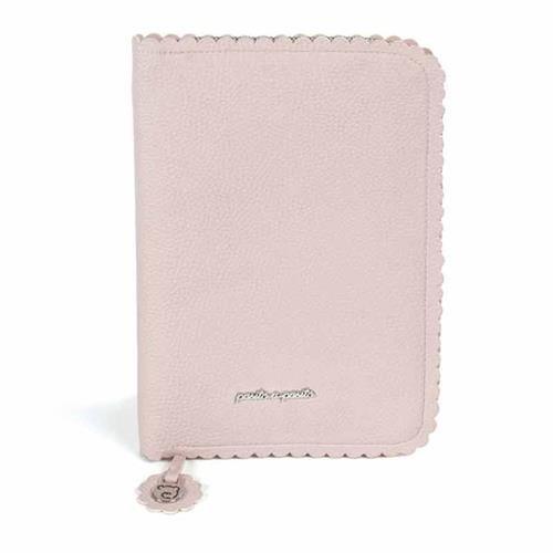 Pasito a Pasito. Libro de Nacimiento Biscuit. Funda Portadocumentos de Bebé con bolsillos y cremallera. Color Rosa. Medidas: 18 X 26 X 1,5 cm.