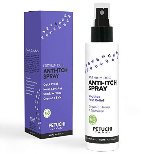 PETUCHI Anti-Juckreiz-Spray für Hunde; 100% natürliche mit Hanf und Haferflocken; Juckreizlinderung für empfindliche und entzündete Hundehaut; 150ml