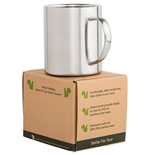 Stainless Steel Coffee Mug - Premium Wider Handle - Double Wall 13.5oz Metal Coffee Mug & Tea Cup - for Home Camping Outdoors RV Gift - Shatterproof Dishwasher Safe