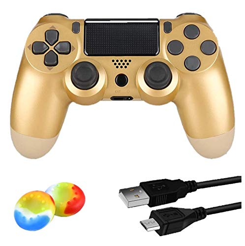 Controller Wireless Bluetooth per PlayStation 4 Joystick per Gamepad Con Cavo USB per PS4 / Windows/Android/iOS, Oro (Gold)