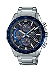 Imported; Edifice; Solar Powered; Chronograph; Carbon Dial 1 Sec Stopwatch; Date Display; Battery Indicator; Screw Back Quartz Movement Case Diameter: 45.8mm Water resistant to 100m (330ft): in general, suitable for swimming and snorkeling, but not d...
